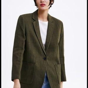 Zara rustic linen blend fabric Blazer jacket